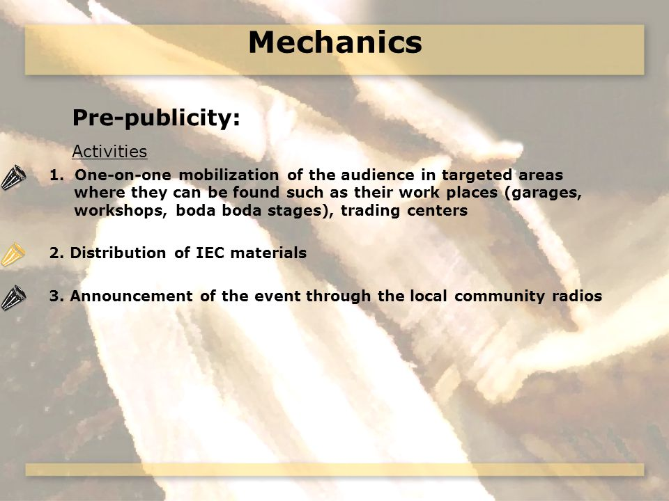 Mechanics Pre-publicity: Activities 1.