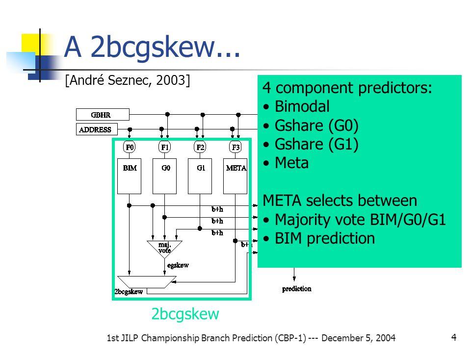 1st JILP Championship Branch Prediction (CBP-1) --- December 5, 2004 4 A 2bcgskew...
