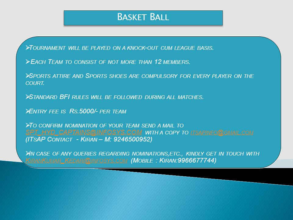 B ASKET B ALL T OURNAMENT WILL BE PLAYED ON A KNOCK - OUT CUM LEAGUE BASIS.