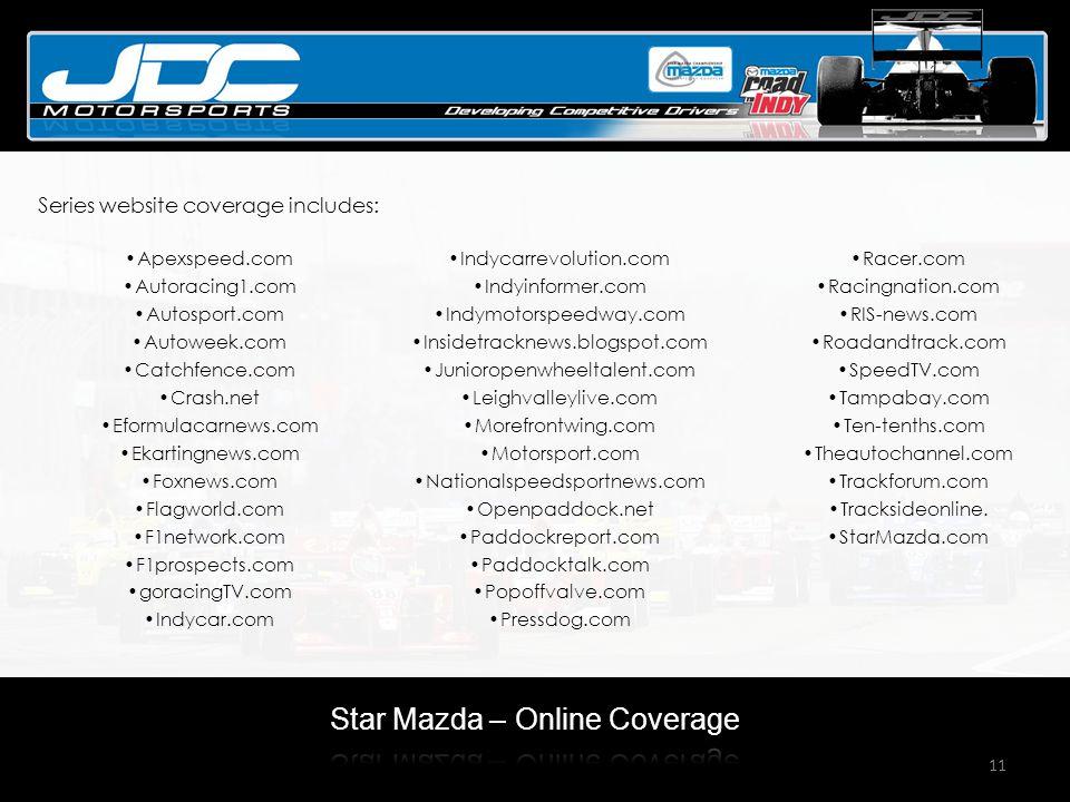 11 Apexspeed.com Autoracing1.com Autosport.com Autoweek.com Catchfence.com Crash.net Eformulacarnews.com Ekartingnews.com Foxnews.com Flagworld.com F1network.com F1prospects.com goracingTV.com Indycar.com Indycarrevolution.com Indyinformer.com Indymotorspeedway.com Insidetracknews.blogspot.com Junioropenwheeltalent.com Leighvalleylive.com Morefrontwing.com Motorsport.com Nationalspeedsportnews.com Openpaddock.net Paddockreport.com Paddocktalk.com Popoffvalve.com Pressdog.com Racer.com Racingnation.com RIS-news.com Roadandtrack.com SpeedTV.com Tampabay.com Ten-tenths.com Theautochannel.com Trackforum.com Tracksideonline.