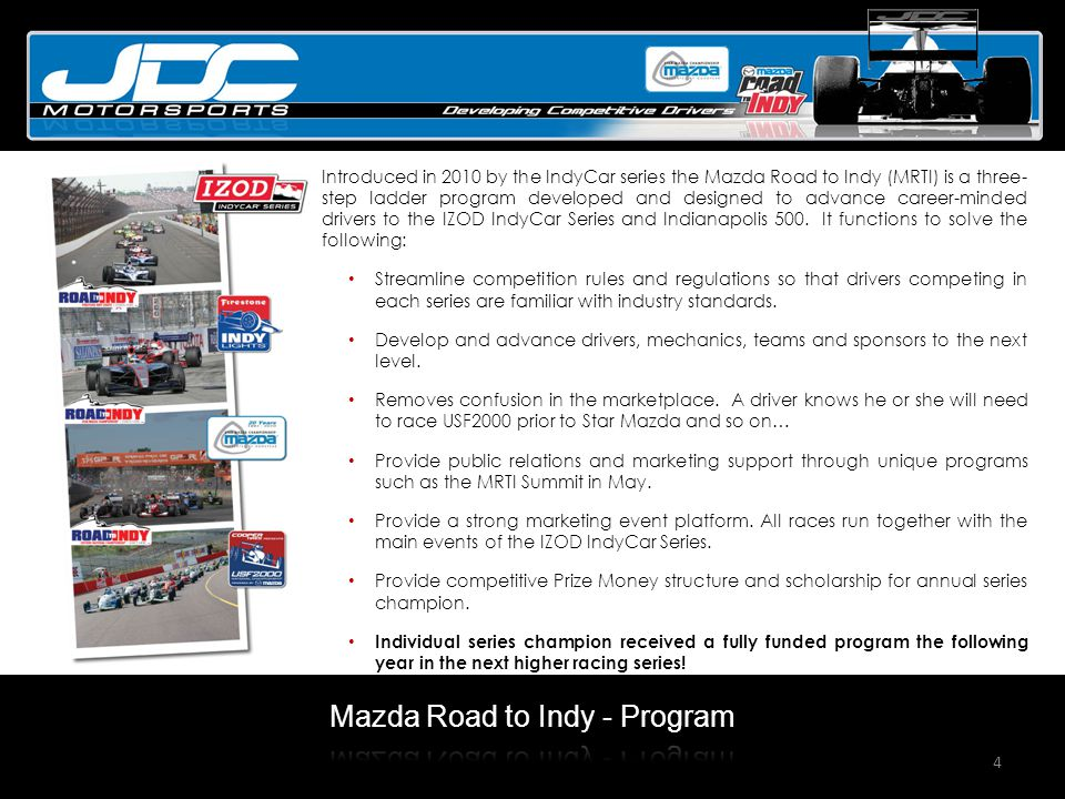 4 Introduced in 2010 by the IndyCar series the Mazda Road to Indy (MRTI) is a three- step ladder program developed and designed to advance career-minded drivers to the IZOD IndyCar Series and Indianapolis 500.