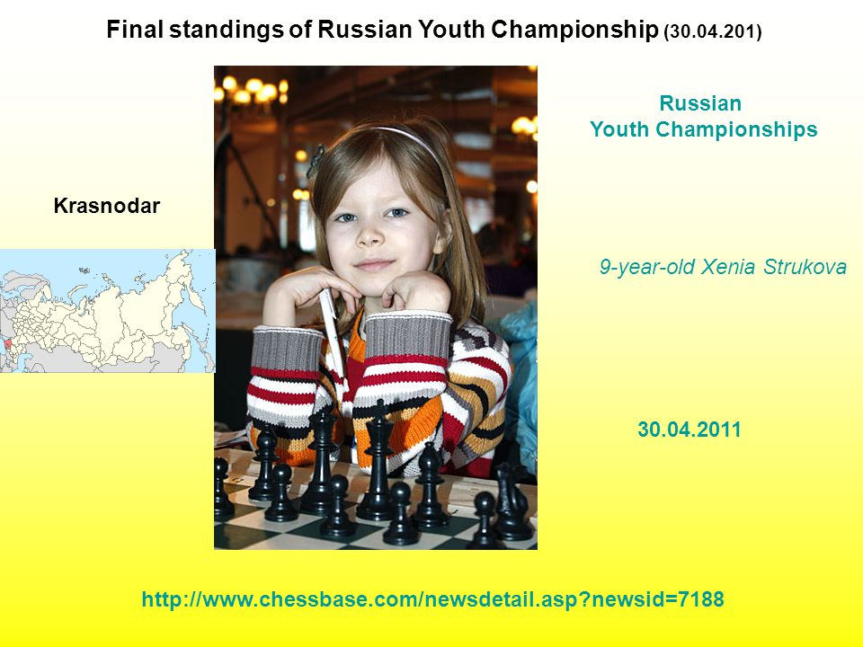 9-year-old Xenia Strukova Final standings of Russian Youth Championship (30.04.201) Russian Youth Championships 30.04.2011 http://www.chessbase.com/newsdetail.asp?newsid=7188 Krasnodar