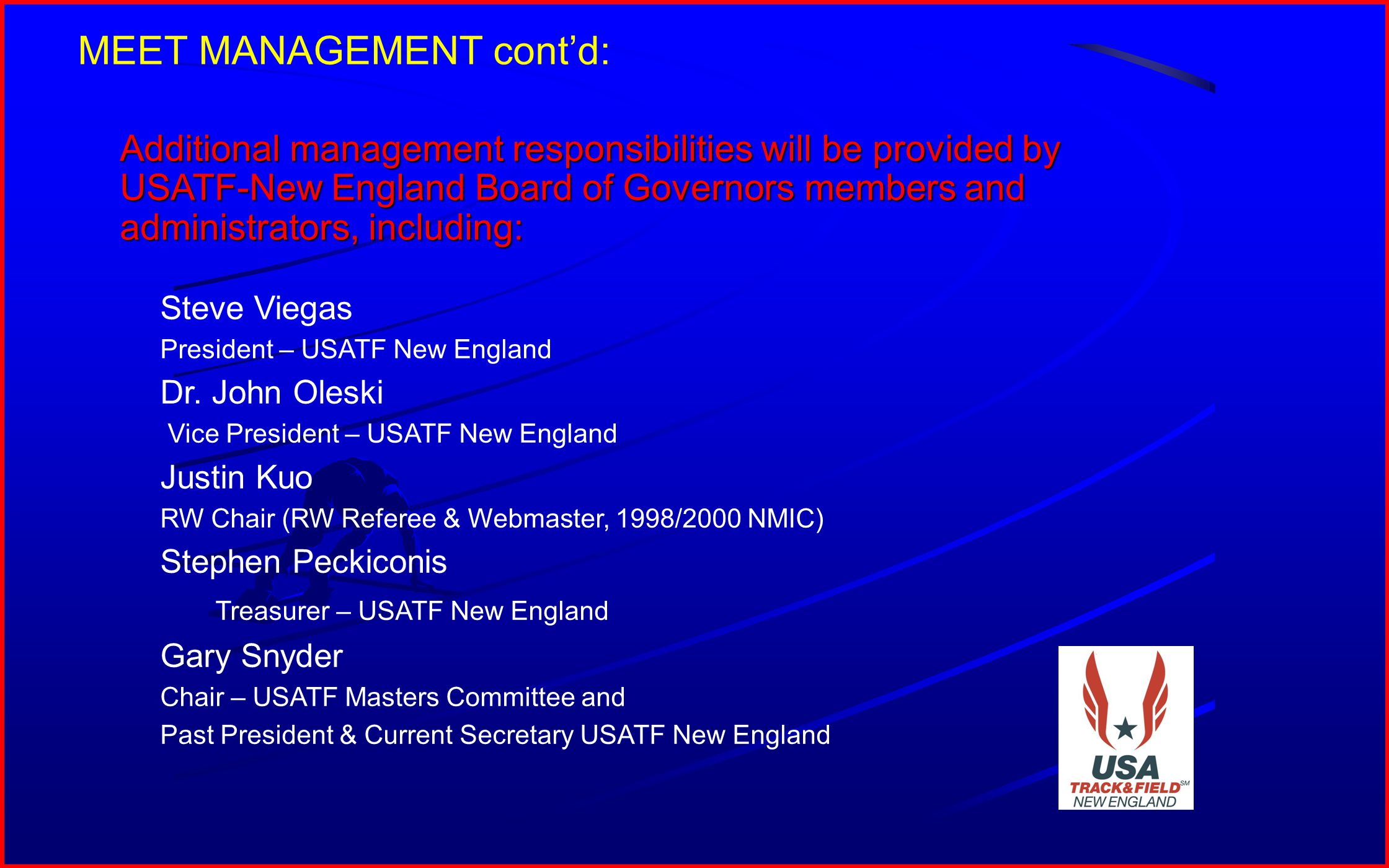 8 USATF Regional and National level certified officials will officiate at the meet.