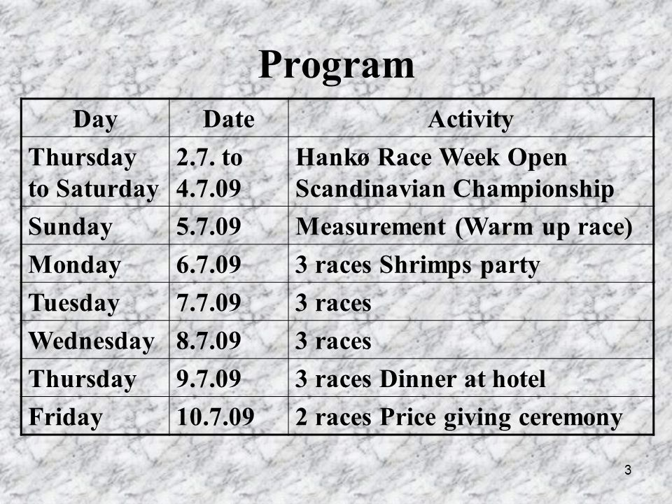 3 Program DayDateActivity Thursday to Saturday 2.7.