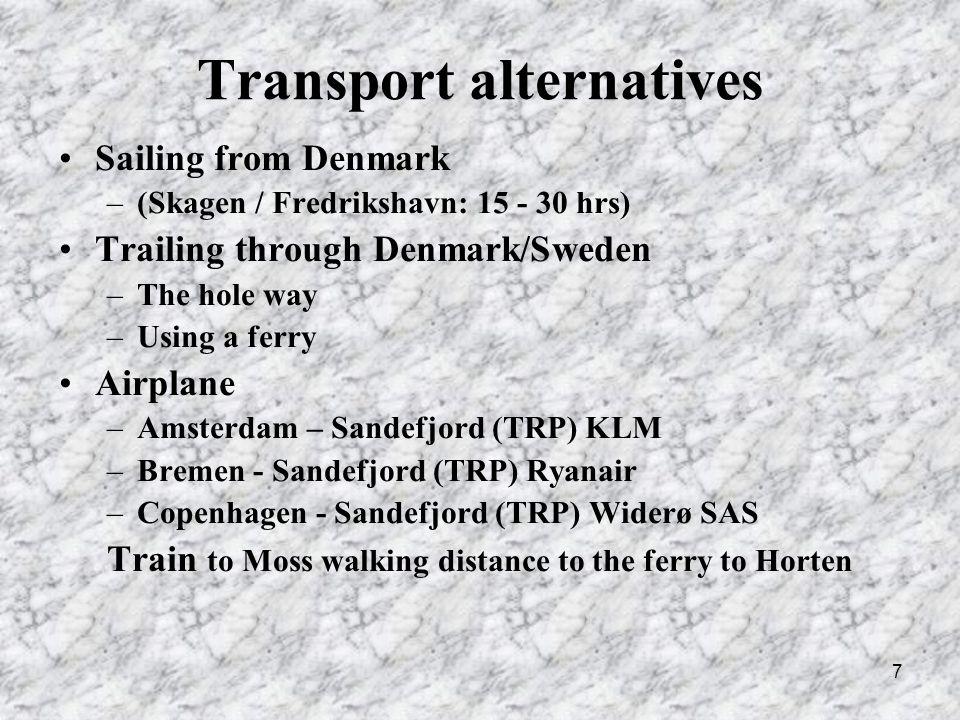 8 Ferries GER/DEN NOR Kiel – Oslo Color Line Kiel – Gothenborg Stena Line Hirtshals – Larvik Color Line Hirtshals – Oslo Color Line Fredrikshavn – Oslo Stena Line Ferries across the Oslofjord: –Strømstad – Sandfjord Color Line –Moss - Horten