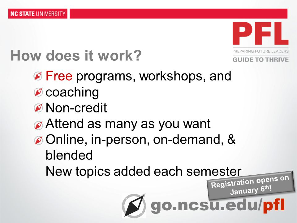 Free programs, workshops, and coaching Non-credit Attend as many as you want Online, in-person, on-demand, & blended New topics added each semester go.ncsu.edu/pfl Registration opens on January 6 th .