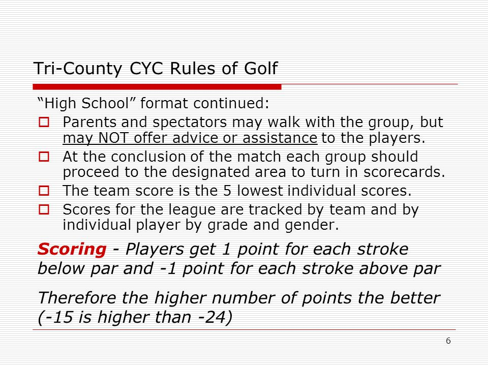 27 Tri-County CYC Golf This concludes the Rules of Golf and Etiquette Seminar.