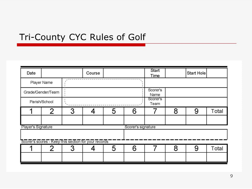 9 Tri-County CYC Rules of Golf
