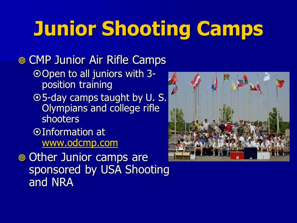 Junior Shooting Camps CMP Junior Air Rifle Camps CMP Junior Air Rifle Camps Open to all juniors with 3- position training Open to all juniors with 3- position training 5-day camps taught by U.