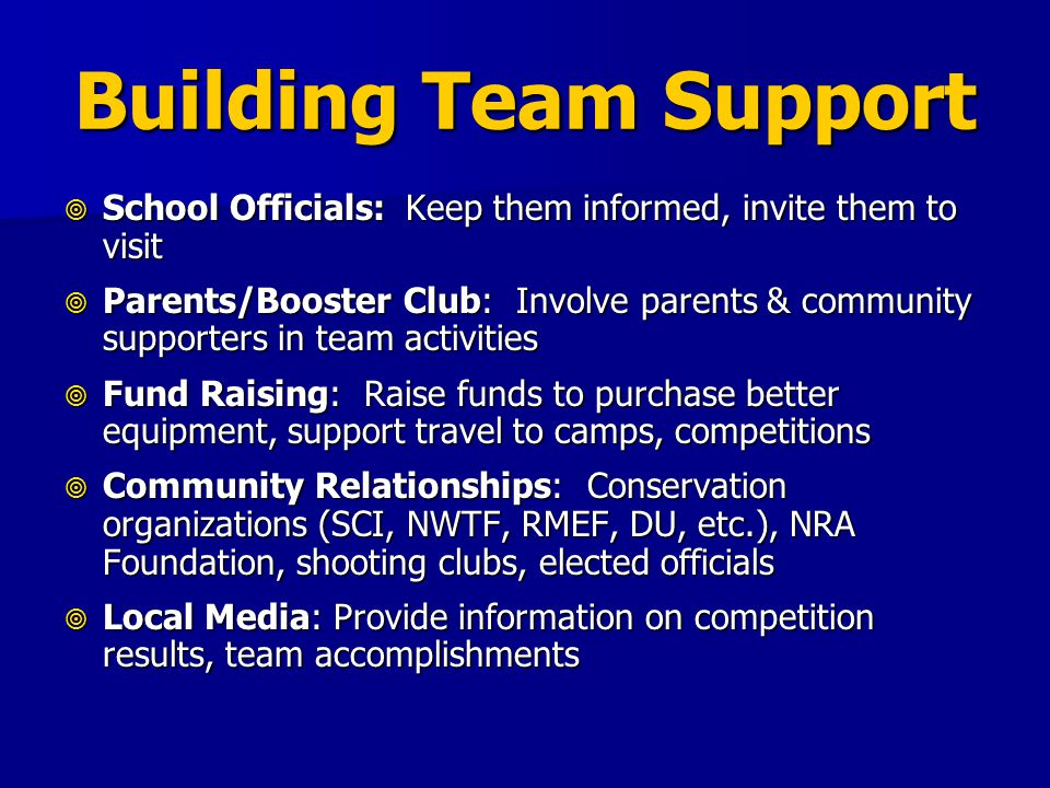 Building Team Support School Officials: Keep them informed, invite them to visit School Officials: Keep them informed, invite them to visit Parents/Bo