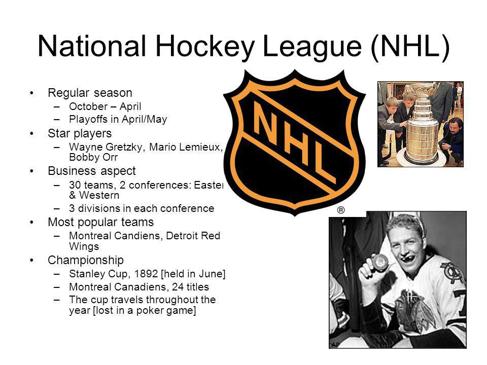 National Hockey League (NHL) Regular season –October – April –Playoffs in April/May Star players –Wayne Gretzky, Mario Lemieux, Bobby Orr Business aspect –30 teams, 2 conferences: Eastern & Western –3 divisions in each conference Most popular teams –Montreal Candiens, Detroit Red Wings Championship –Stanley Cup, 1892 [held in June] –Montreal Canadiens, 24 titles –The cup travels throughout the year [lost in a poker game]