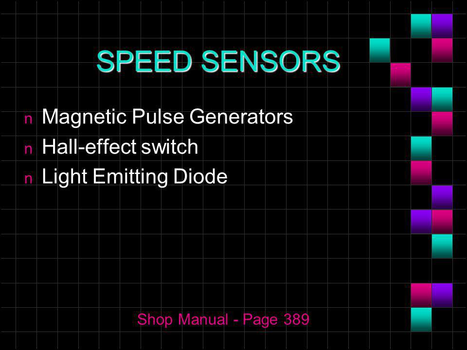 SPEED SENSORS n Magnetic Pulse Generators n Hall-effect switch n Light Emitting Diode Shop Manual - Page 389