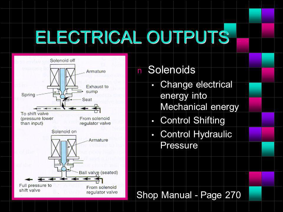 ELECTRICAL OUTPUTS n Solenoids Change electrical energy into Mechanical energy Control Shifting Control Hydraulic Pressure Shop Manual - Page 270