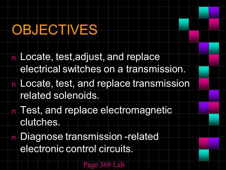 OBJECTIVES n Locate, test,adjust, and replace electrical switches on a transmission.