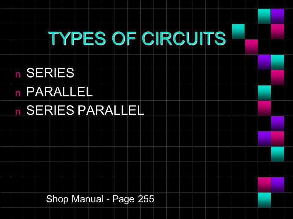 TYPES OF CIRCUITS n SERIES n PARALLEL n SERIES PARALLEL Shop Manual - Page 255
