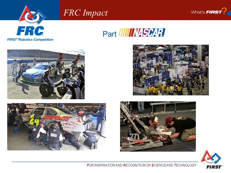 F OR I NSPIRATION AND R ECOGNITION OF S CIENCE AND T ECHNOLOGY Part NASCAR FRC Impact