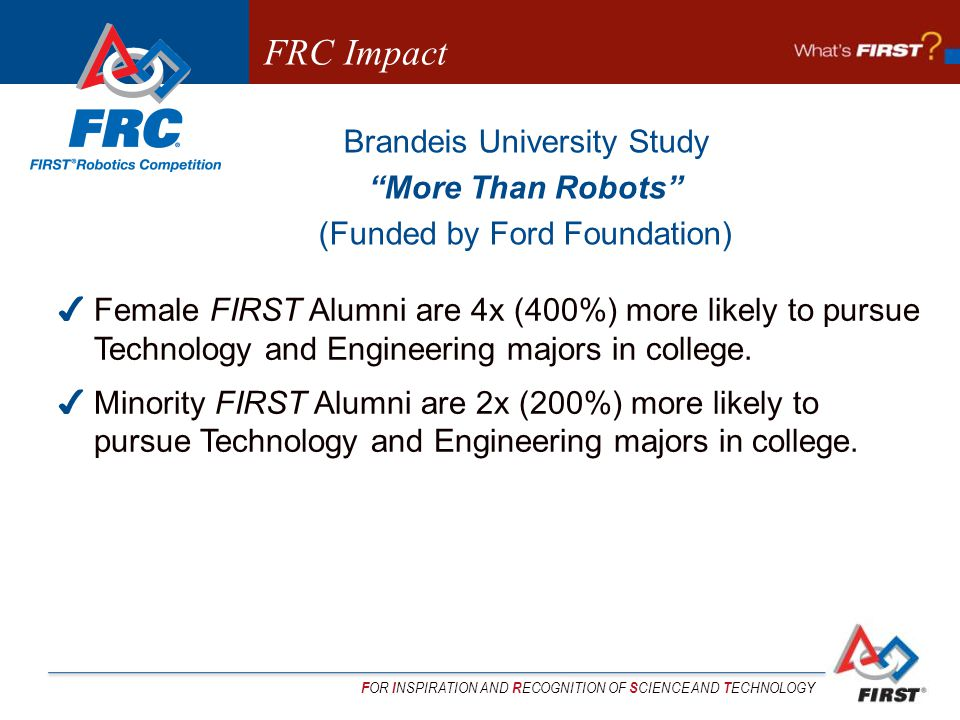 F OR I NSPIRATION AND R ECOGNITION OF S CIENCE AND T ECHNOLOGY Brandeis University Study More Than Robots (Funded by Ford Foundation) Female FIRST Alumni are 4x (400%) more likely to pursue Technology and Engineering majors in college.