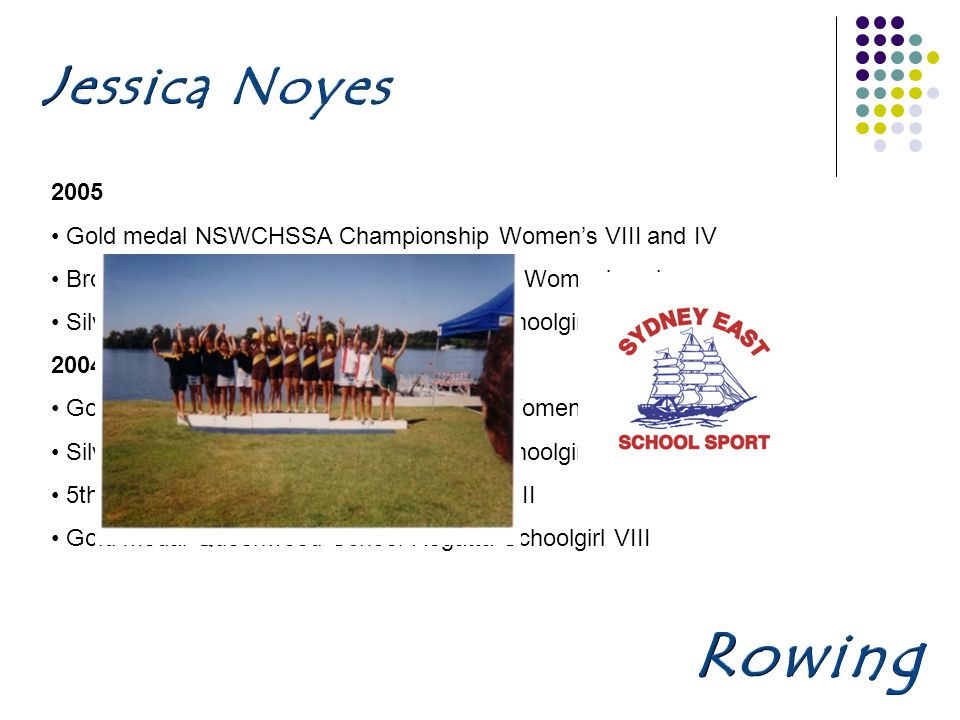 2005 Gold medal NSWCHSSA Championship Womens VIII and IV Bronze medal NSWCHSSA Championship Womens pair Silver medal AAGPS Head of the River Schoolgirl VIII 2004 Gold medal NSWCHSSA Championship Womens VIII Silver medal AAGPS Head of the River Schoolgirl IV 5th AAGPS Head of the River Schoolgirl VIII Gold medal Queenwood School Regatta Schoolgirl VIII
