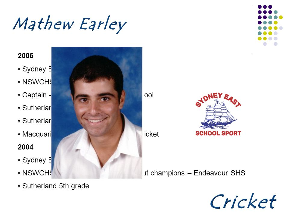 2005 Sydney East SSA NSWCHSSA Cricket 1st 11 Captain – Endeavour Sports High School Sutherland Poidevin Grey team Sutherland 4th grade Macquarie Bank leadership forum - Cricket 2004 Sydney East SSA NSWCHSSA Davidson Shield knockout champions – Endeavour SHS Sutherland 5th grade