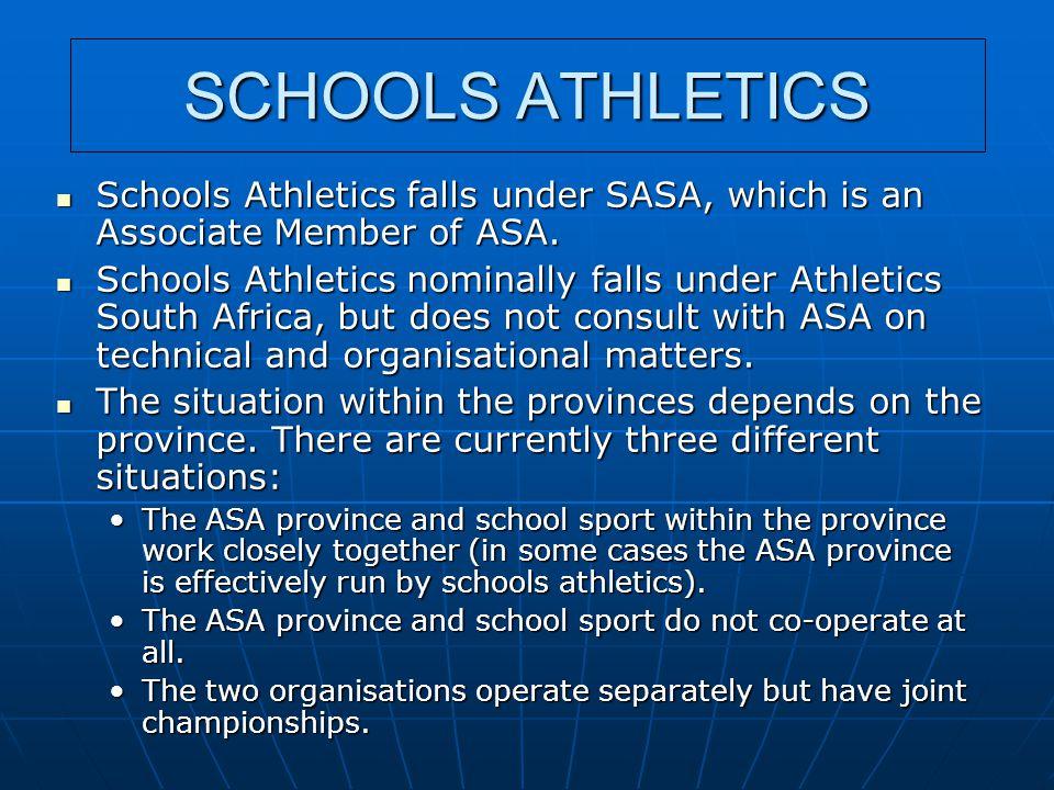 SCHOOLS ATHLETICS Schools Athletics falls under SASA, which is an Associate Member of ASA. Schools Athletics falls under SASA, which is an Associate M