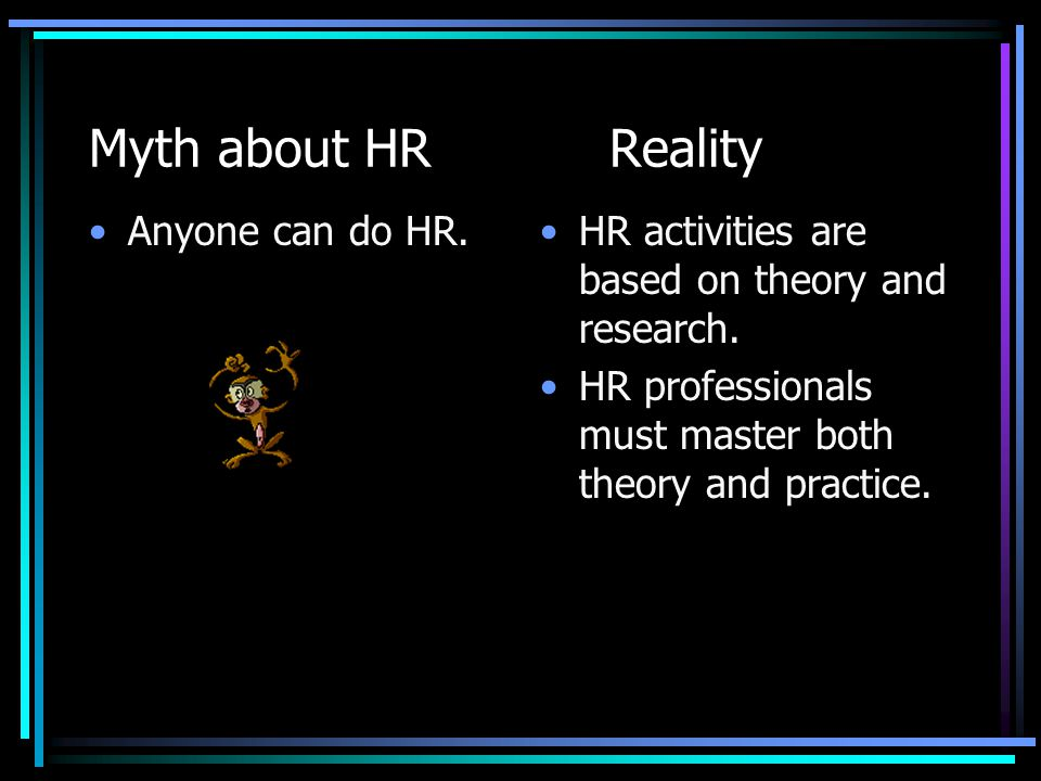 Myth about HRReality Anyone can do HR.HR activities are based on theory and research. HR professionals must master both theory and practice.