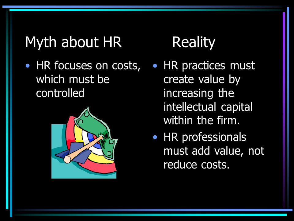 Myth about HRReality HRs job is to be the policy police and the health-and- happiness patrol.