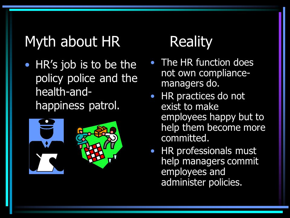 Myth about HRReality HR is full of fads.HR policies have evolved over time.