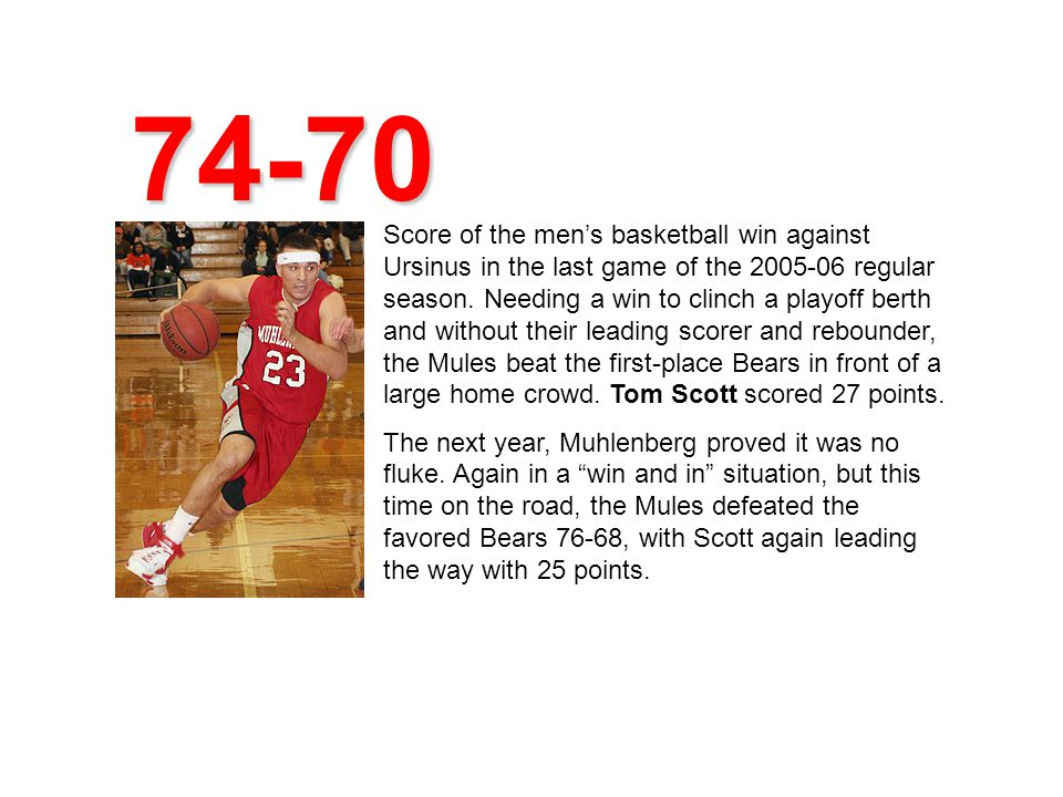 Score of the mens basketball win against Ursinus in the last game of the 2005-06 regular season.