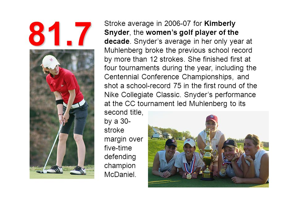 81.7 Stroke average in 2006-07 for Kimberly Snyder, the womens golf player of the decade.