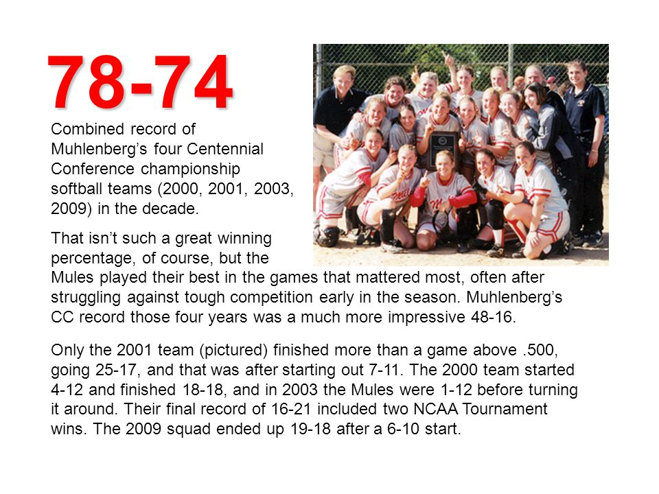 78-74 Combined record of Muhlenbergs four Centennial Conference championship softball teams (2000, 2001, 2003, 2009) in the decade.