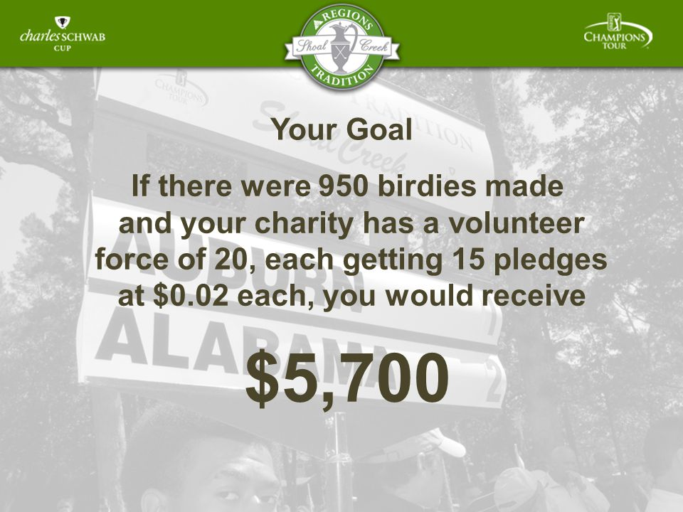 Your Goal If there were 950 birdies made and your charity has a volunteer force of 20, each getting 15 pledges at $0.02 each, you would receive $5,700