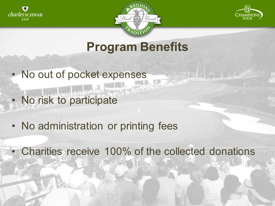 Program Benefits No out of pocket expenses No risk to participate No administration or printing fees Charities receive 100% of the collected donations