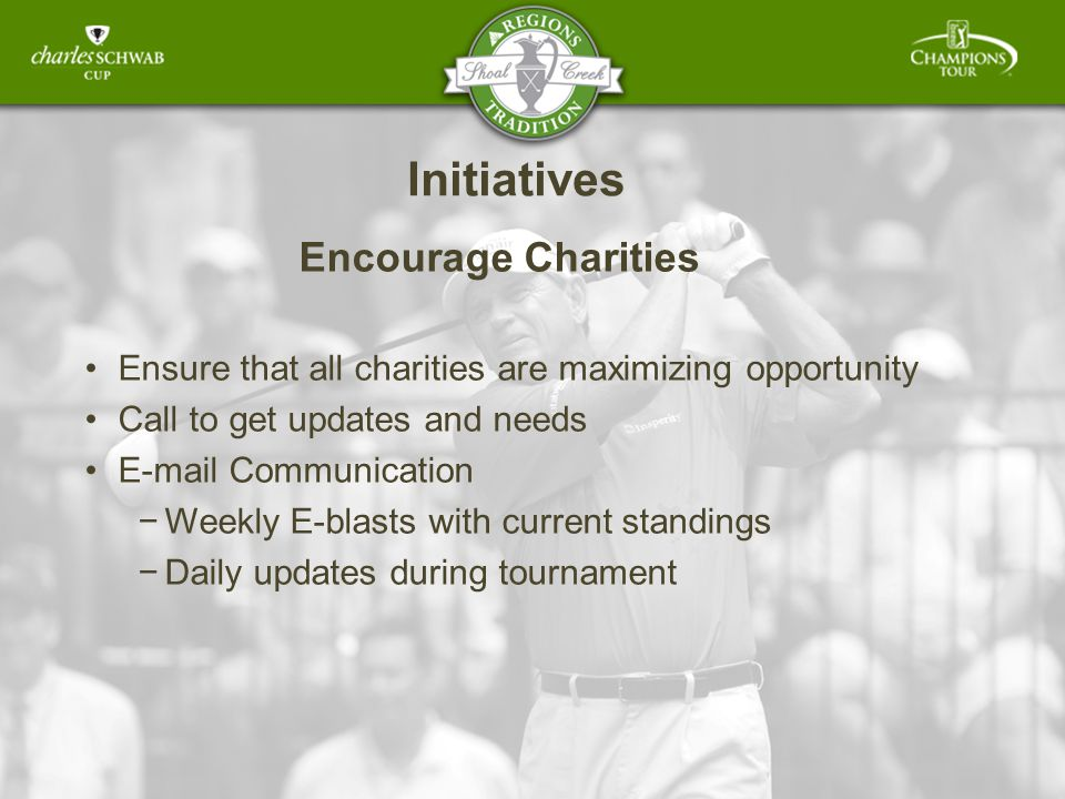 Initiatives Encourage Charities Ensure that all charities are maximizing opportunity Call to get updates and needs E-mail Communication Weekly E-blasts with current standings Daily updates during tournament