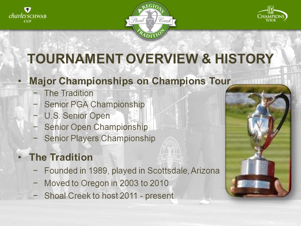 TOURNAMENT OVERVIEW & HISTORY Major Championships on Champions Tour The The Tradition Senior PGA Championship U.S.