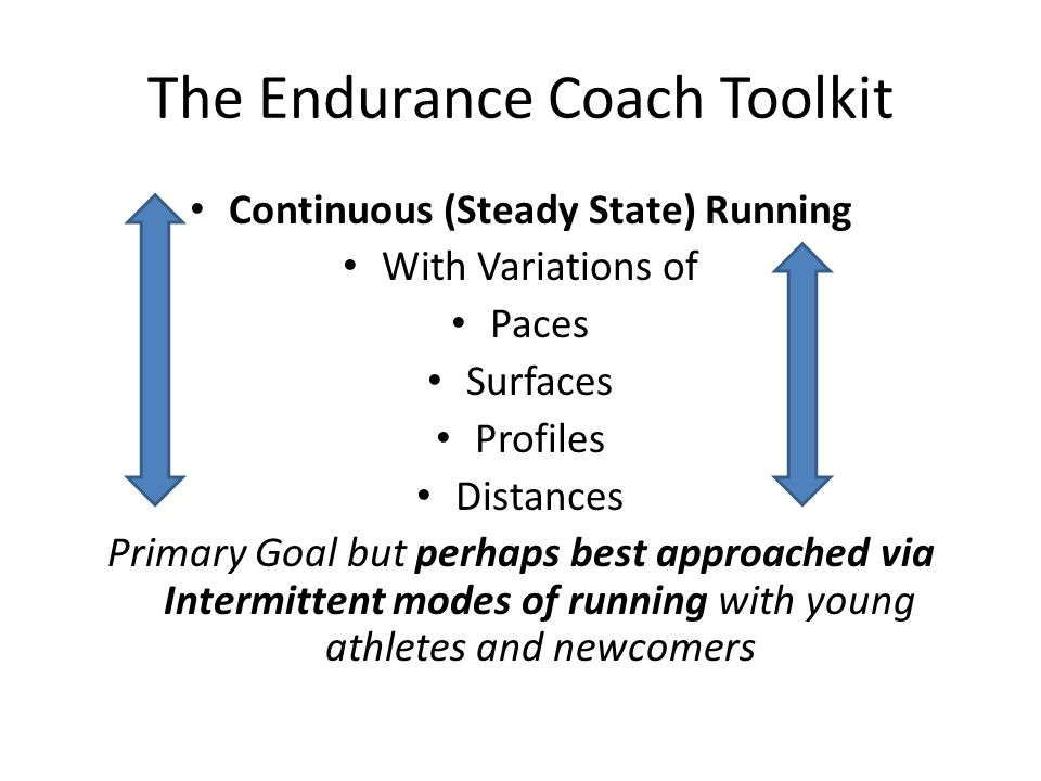 The Endurance Coach Toolkit Continuous (Steady State) Running With Variations of Paces Surfaces Profiles Distances Primary Goal but perhaps best approached via Intermittent modes of running with young athletes and newcomers
