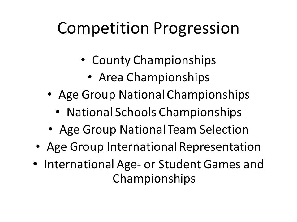 Competition Progression County Championships Area Championships Age Group National Championships National Schools Championships Age Group National Tea