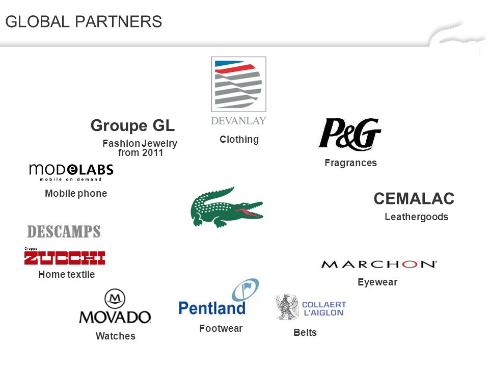 GLOBAL PARTNERS CEMALAC Belts Eyewear Footwear Leathergoods Fragrances Clothing Watches Home textile Mobile phone Fashion Jewelry from 2011 Groupe GL