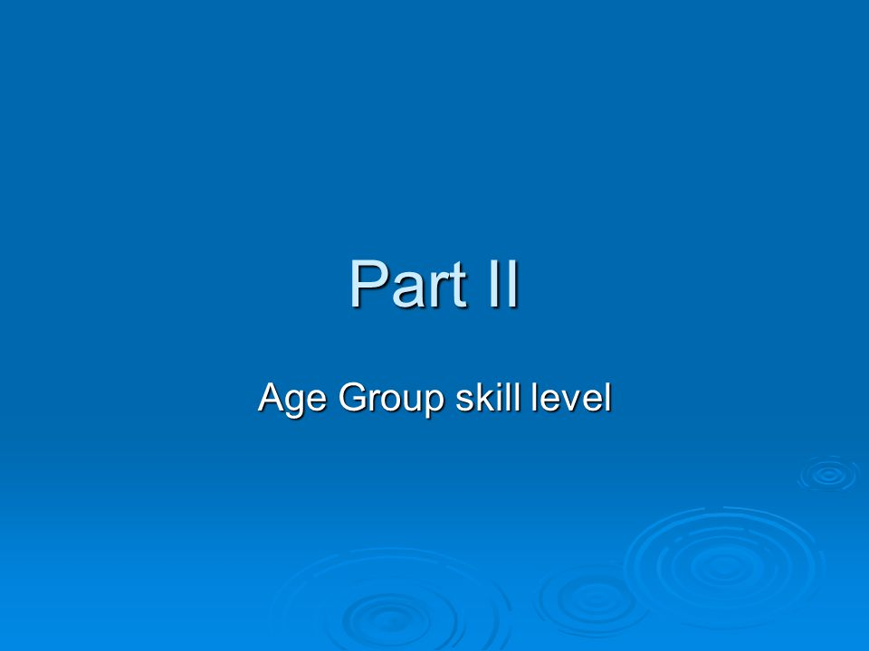Part II Age Group skill level