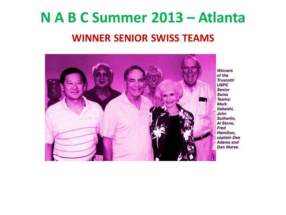 N A B C Summer 2013 – Atlanta WINNER SENIOR SWISS TEAMS