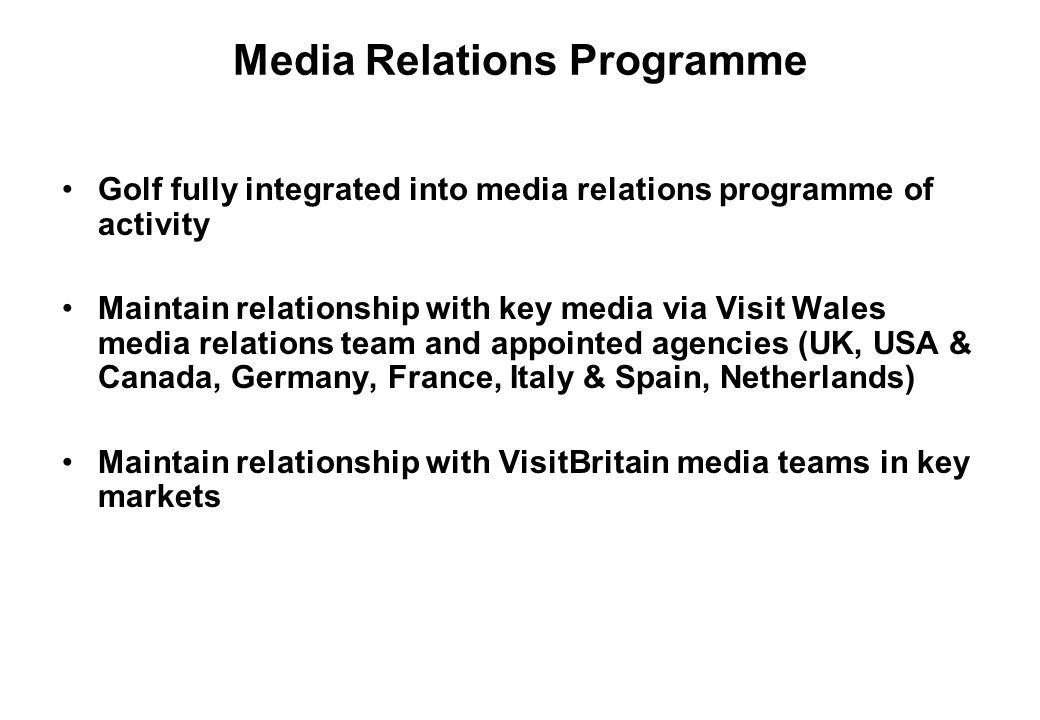 Media Relations Programme Golf fully integrated into media relations programme of activity Maintain relationship with key media via Visit Wales media