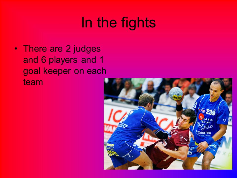 In the fights There are 2 judges and 6 players and 1 goal keeper on each team