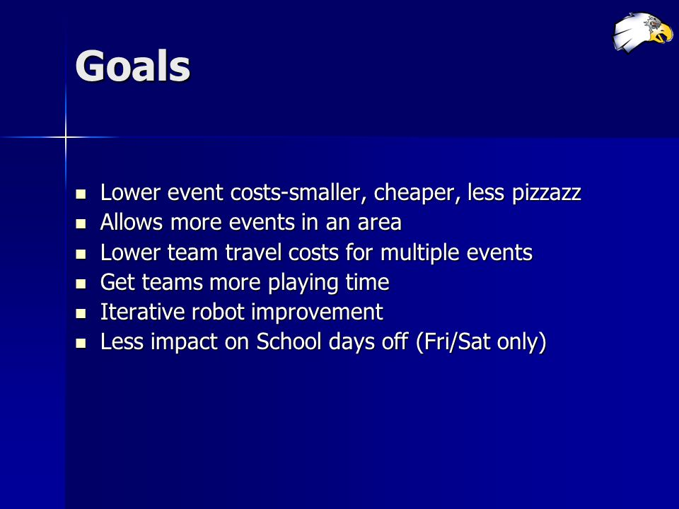 Goals Lower event costs-smaller, cheaper, less pizzazz Lower event costs-smaller, cheaper, less pizzazz Allows more events in an area Allows more even