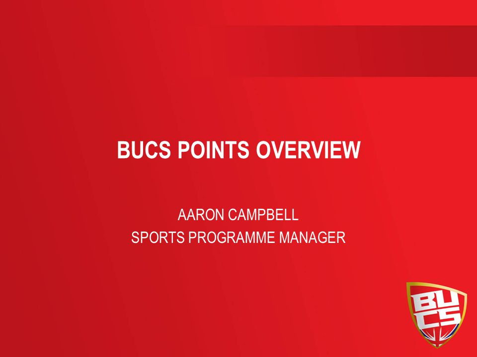BUCS POINTS OVERVIEW AARON CAMPBELL SPORTS PROGRAMME MANAGER