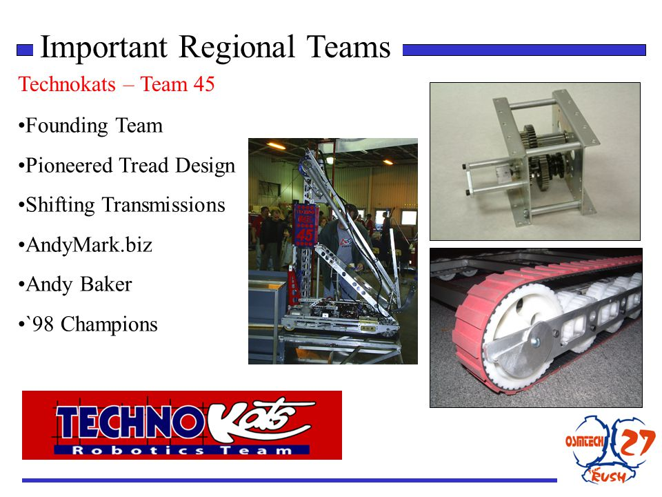 Important Regional Teams Technokats – Team 45 Founding Team Pioneered Tread Design Shifting Transmissions AndyMark.biz Andy Baker `98 Champions