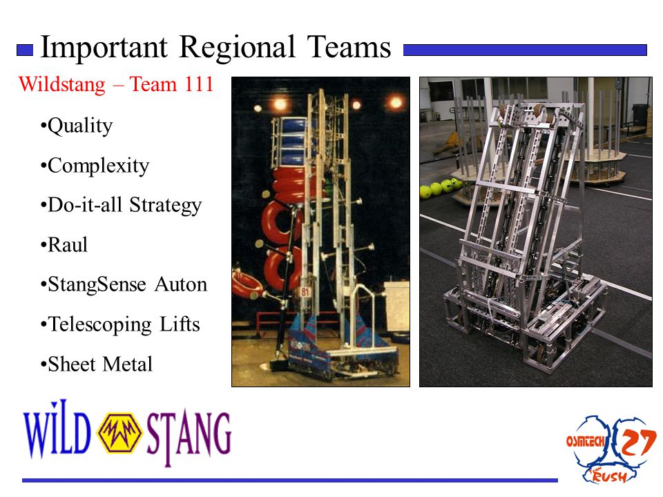 Important Regional Teams Wildstang – Team 111 Quality Complexity Do-it-all Strategy Raul StangSense Auton Telescoping Lifts Sheet Metal