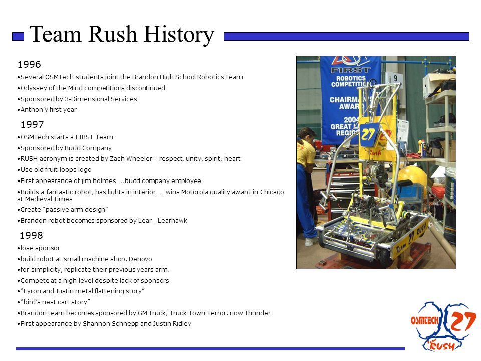 Team Rush History 1996 Several OSMTech students joint the Brandon High School Robotics Team Odyssey of the Mind competitions discontinued Sponsored by