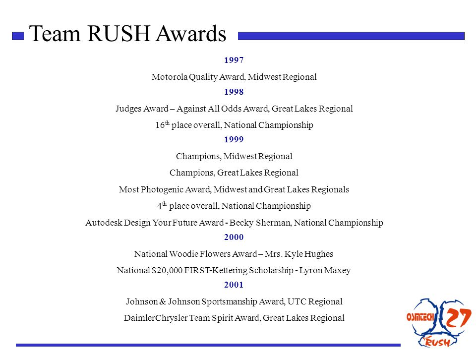 Team RUSH Awards 1997 Motorola Quality Award, Midwest Regional 1998 Judges Award – Against All Odds Award, Great Lakes Regional 16 th place overall, National Championship 2000 National Woodie Flowers Award – Mrs.