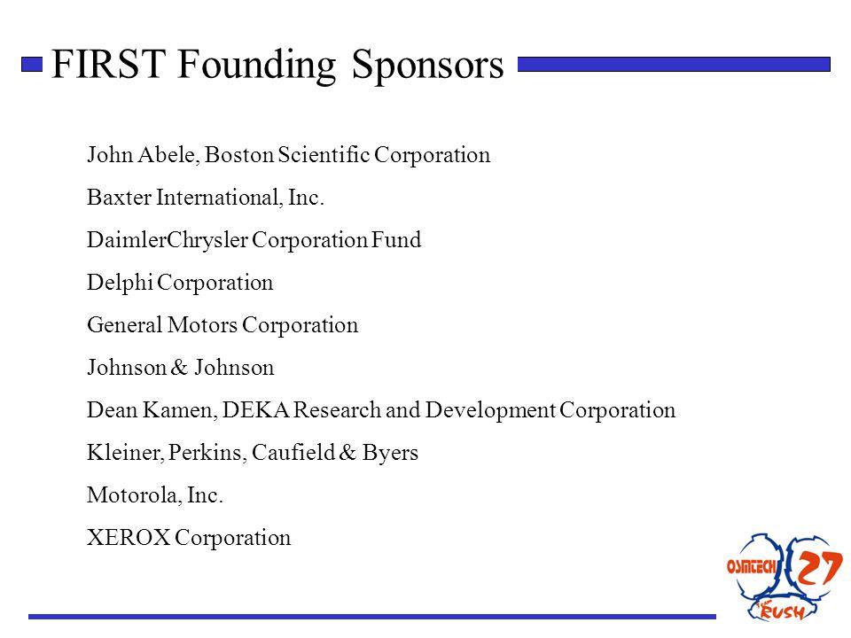 FIRST Founding Sponsors John Abele, Boston Scientific Corporation Baxter International, Inc.