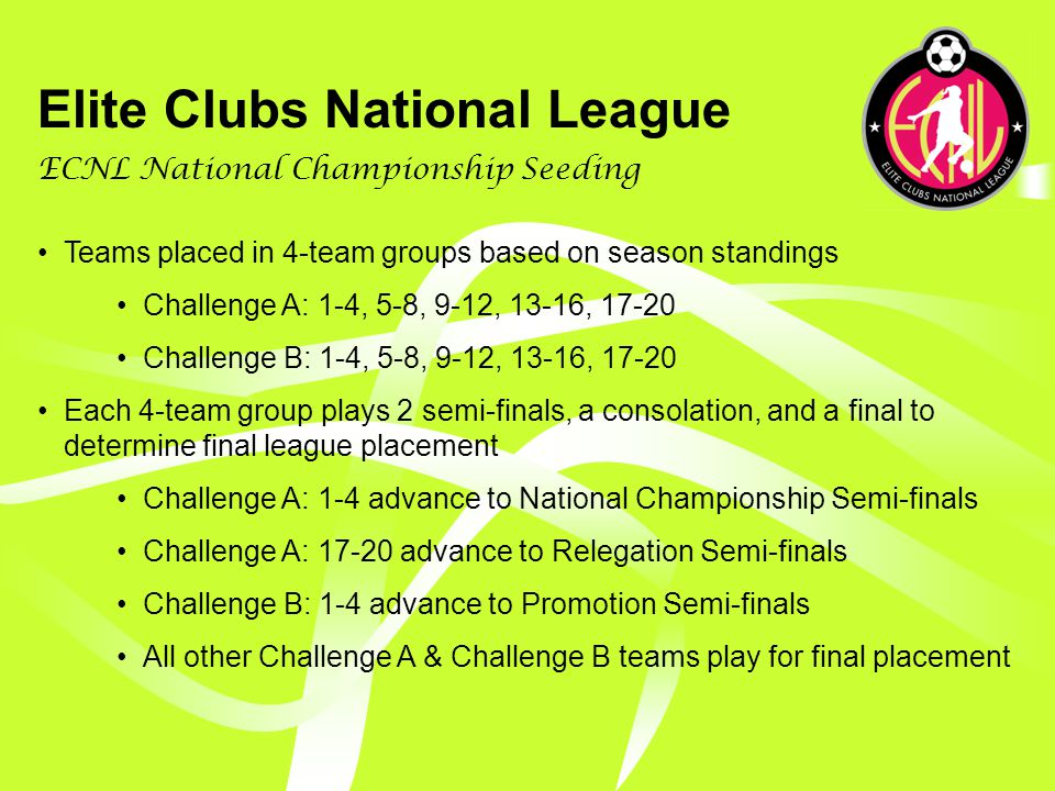 Elite Clubs National League ECNL National Championship Event July 8-11, 2010 – Tentative Date 3/4-day Standalone Event Host determined by bid process based on pre-determined criteria U15-U17 individual age group National Champions crowned U15-U17 individual age group Promotion/Relegation playoffs Overall Club National Champion crowned Awards for: U15-U17 National Champions, Club National Champion, Season Golden Ball (Top Player), Season Golden Boot (Top Scorer) and Season Golden Gloves (Top Goalkeeper), U15-U17 All-ECNL Team No entry fee