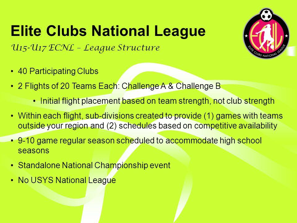 Elite Clubs National League U15-U17 ECNL Structure: Year 1 & 2